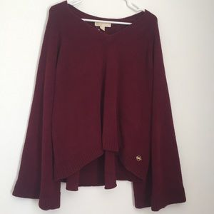 MICHAEL KORS Merlot V-Neck Sweater NWT Red Purple